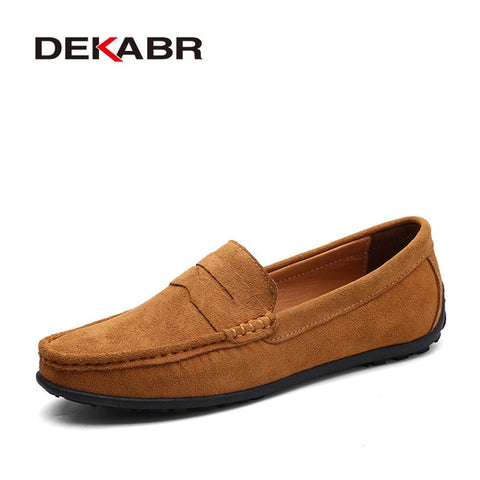 Image of DEKABR Brand Fashion Summer Style Soft Moccasins Men Loafers High Quality Genuine Leather Shoes Men Flats Gommino Driving Shoes
