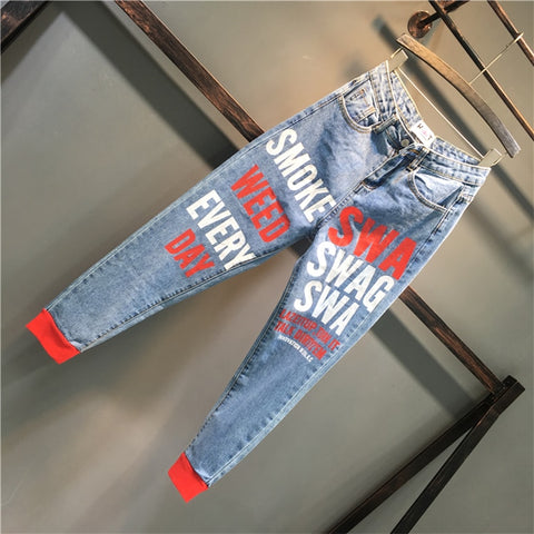 Image of 2019 Spring new fashion spray paint letters printing high waist loose feet harem jeans women