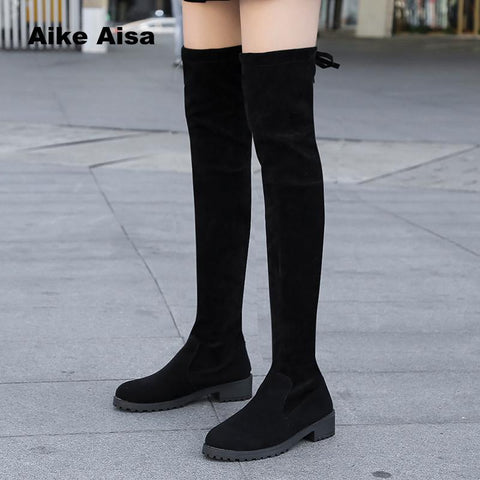 Size 35-41 Winter Over The Knee Boots Women Stretch Fabric Thigh High Sexy Woman Shoes Long Bota Feminina zapatos de mujer  #66