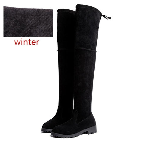 Image of Size 35-41 Winter Over The Knee Boots Women Stretch Fabric Thigh High Sexy Woman Shoes Long Bota Feminina zapatos de mujer  #66
