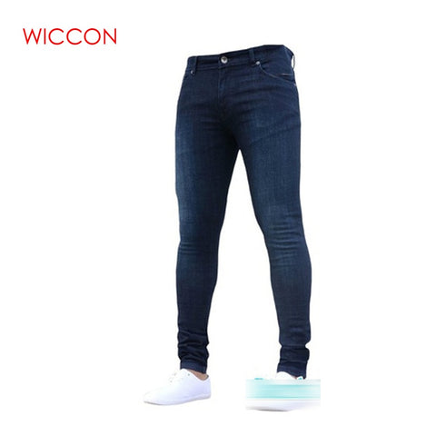 Image of New Mens Pencil Pants 2019 Fashion Men Casual Slim Fit Straight Stretch Feet Skinny Zipper Jeans For Male Hot Sell Trousers