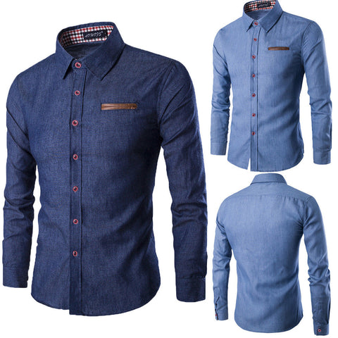 Image of Men's Casual Slim Fit Stylish Wash Denim Long Sleeves Jeans Shirts Smart Casual Fashion Men Clothes