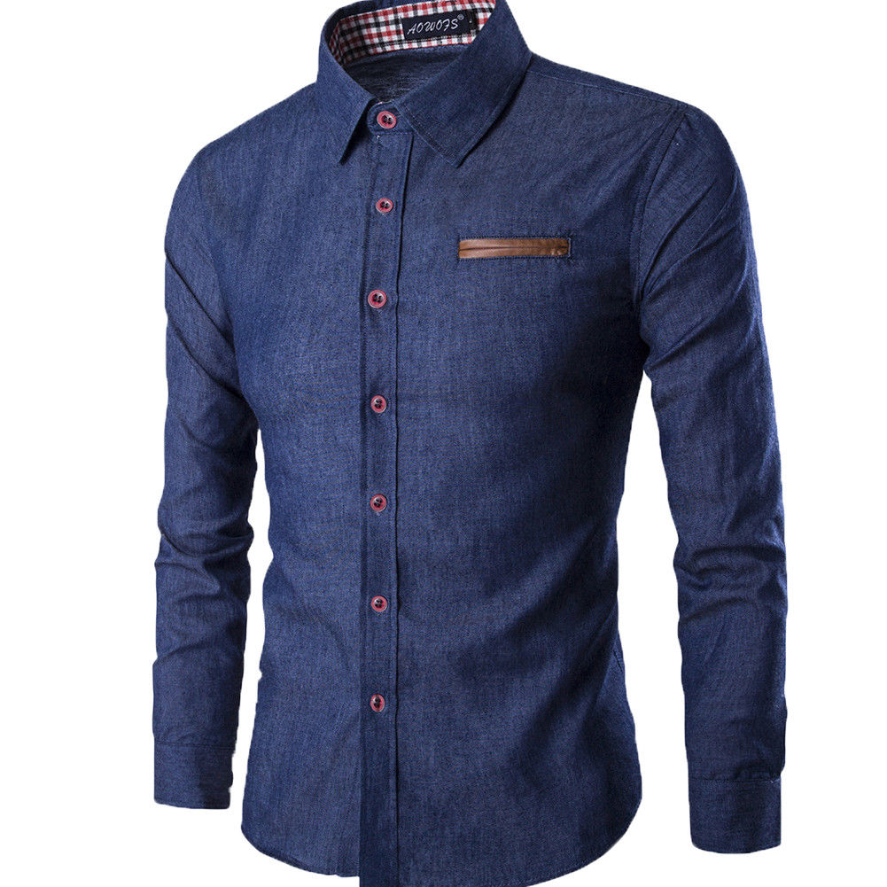 Men's Casual Slim Fit Stylish Wash Denim Long Sleeves Jeans Shirts Smart Casual Fashion Men Clothes