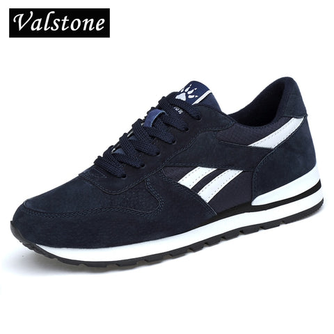 Image of Valstone Men's Genuine leather sneakers Breathable casual shoes non-slip outdoor walking shoes light weight Rubber sole lace-up