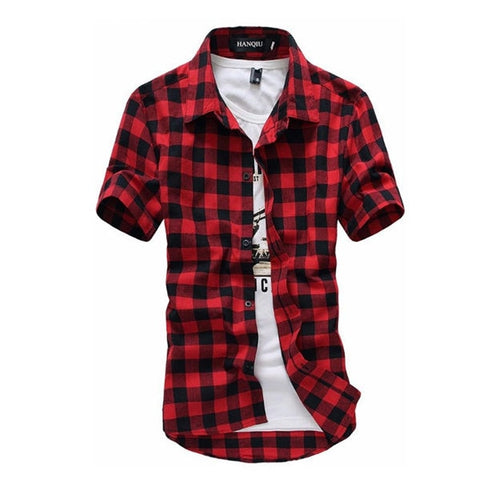 Image of Red And Black Plaid Shirt Men Shirts 2019 New Summer Fashion Chemise Homme Mens Checkered Shirts Short Sleeve Shirt Men Blouse