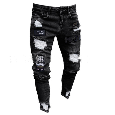 Image of 3 Styles Men Stretchy Ripped Skinny Biker Embroidery Print Jeans Destroyed Hole Taped Slim Fit Denim Scratched High Quality Jean
