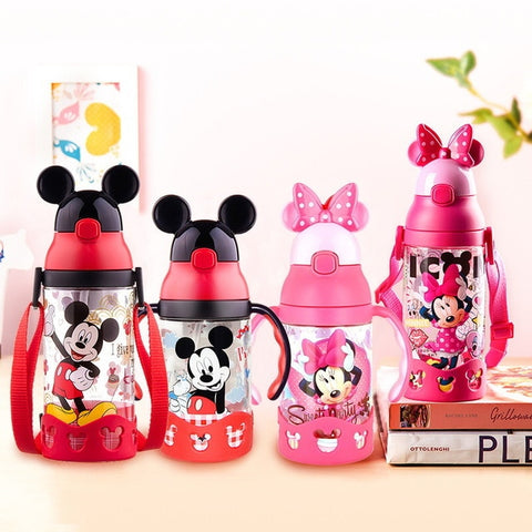 Image of Disney Minnie Mickey Mouse Cups Cartoon Plastic Solid Feeding Student Convenient Outdoor Child Sports Bottle With Straw 520ML