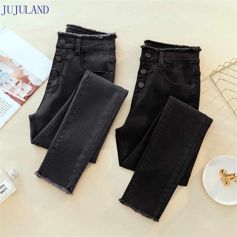 JUJULAND Jeans Female Denim Pants Black Color Womens Jeans Donna Stretch Bottoms Feminino Skinny Pants For Women Trousers 8253