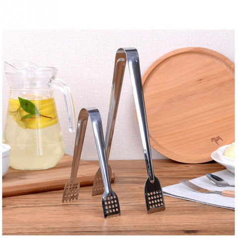 Image of Stainless Steel Food Tongs Kitchen Utensils Buffet Cooking Tool Anti Heat Bread Clip Pastry Clamp Barbecue Kitchen Tongs Steel