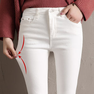 LYJMTDBK Women's white trousers pencil pants 2019 spring and autumn button pocket pants women's high waist elastic feet pants