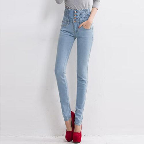 Image of 2019 Jeans Womens High Waist Elastic Skinny Denim Long Pencil Pants Plus Size 40 Woman Jeans Camisa Feminina Lady Fat Trousers