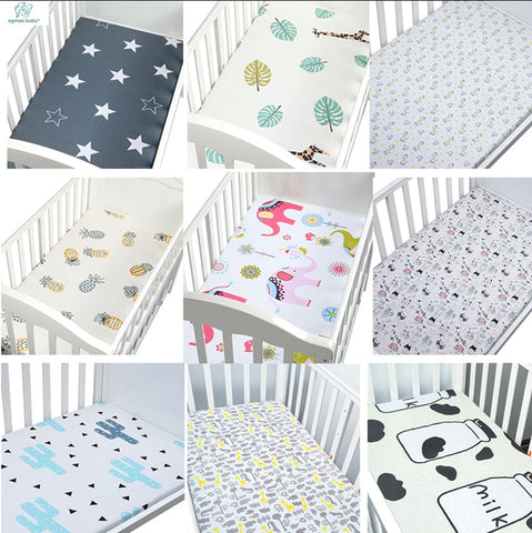 Image of 100% Cotton Crib Fitted Sheet Soft Breathable Baby Bed Mattress Cover Cartoon Newborn Bedding For Cot Size 130*70cm/105*60