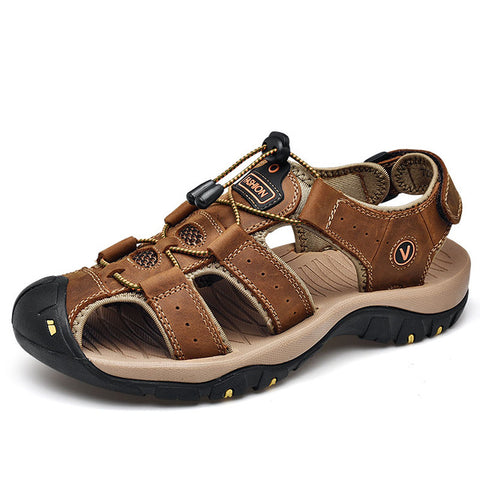 Image of Classic Men Soft Sandals Comfortable Men Summer Shoes Leather Sandals Big Size Soft Sandals Men Roman Comfortable Men Summer