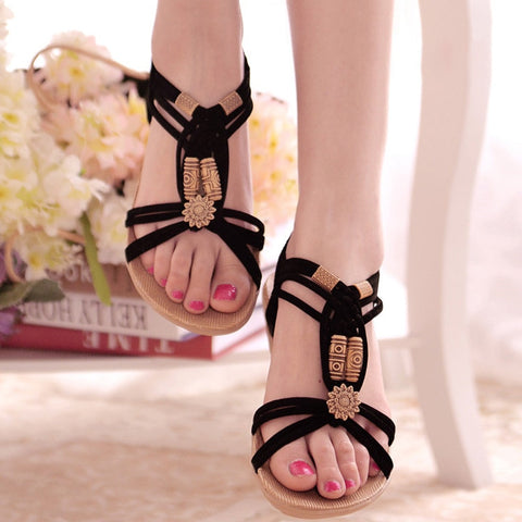 Image of Women Sandals 2019 Fashion Summer Shoes Women Bohemia Flat Sandals For Beach Chaussures Femme Gladiator Sandals Casual Flip Flop