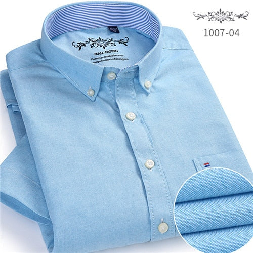 Summer 2019 Short sleeve Button collar oxford fabric slim fit breath comfrotable quality fashion business mens casual shirts