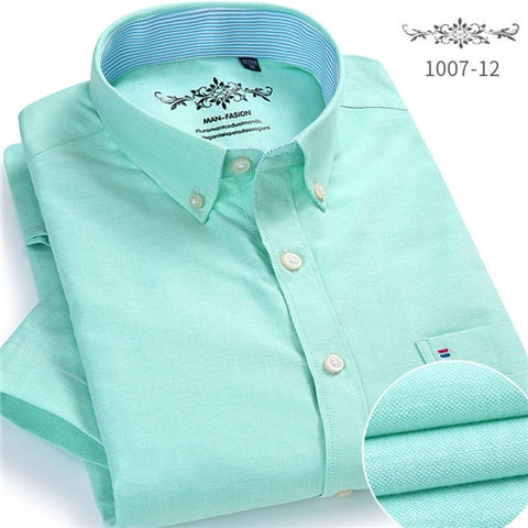 Image of Summer 2019 Short sleeve Button collar oxford fabric slim fit breath comfrotable quality fashion business mens casual shirts