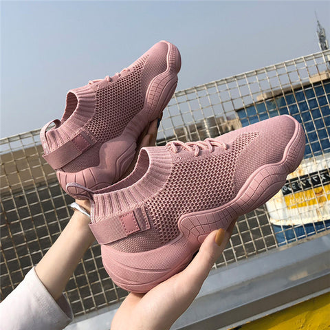Image of Women's Chunky Sneakers 2019 Fashion Women Platform Shoes Lace Up Pink Vulcanize Shoes Womens Female Trainers Dad Shoes