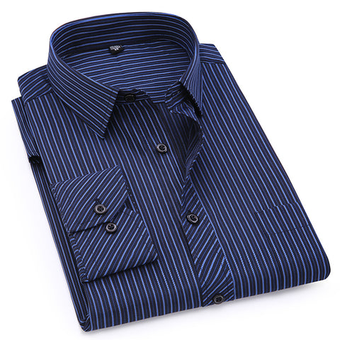Image of Plus Large Size 8XL 7XL 6XL 5XL 4XL Mens Business Casual Long Sleeved Shirt Classic Striped Male Social Dress Shirts Purple Blue