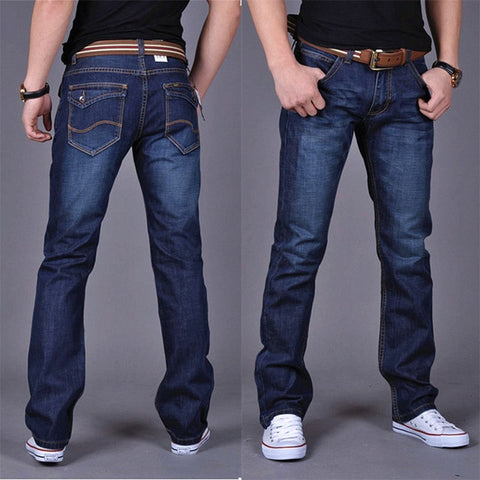 Image of 2019 CHOLYL Men's Straight Denim Jeans Navy Blue Solid Long Jeans New Fashion Male Classic Style Denim Jeans SIZE 28-38