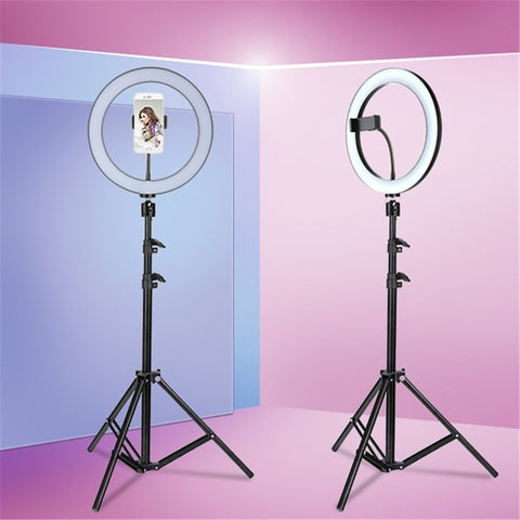 Tycipy 26CM LED Ring Light 24W Photo Studio Light Photography Dimmable Video For iPhone With Tripod Selfie Stick & Phone Holder
