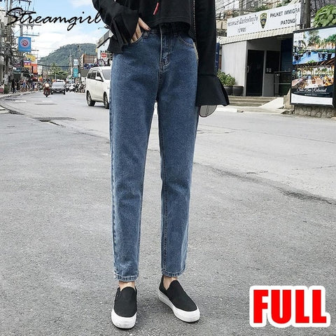 Image of Streamgirl Ladies Jeans Boyfriend For Women Loose Harem Jeans Woman High Waist 2019 Black Jean Femme Denim Pants Capris Spring