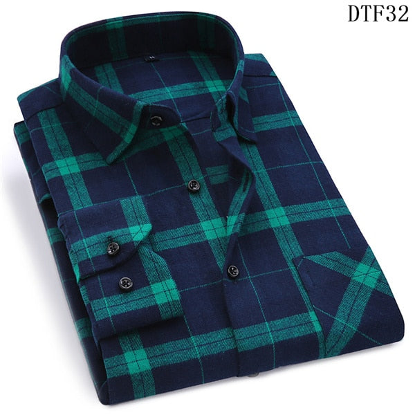 Men Flannel Plaid Shirt 100% Cotton 2019 Spring Autumn Casual Long Sleeve Shirt Soft Comfort Slim Fit Styles Brand Man Plus Size