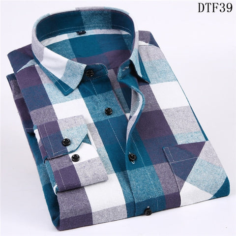 Image of Men Flannel Plaid Shirt 100% Cotton 2019 Spring Autumn Casual Long Sleeve Shirt Soft Comfort Slim Fit Styles Brand Man Plus Size
