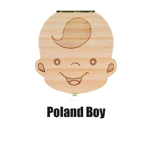 Image of Baby Tooth Box Poland/English/Dutch/Russian/French /Italian  Wooden Milk Teeth Organizer Storage Boys Girls Baby Souvenirs Gift