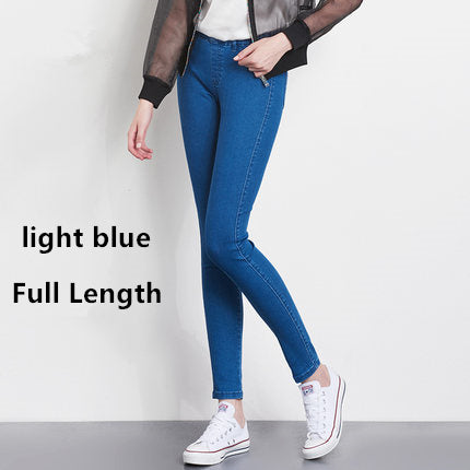 Image of Women Jeans Plus Size Casual high  waist summer Autumn Pant Slim Stretch Cotton Denim Trousers for woman Blue black 4xl 5xl 6xl
