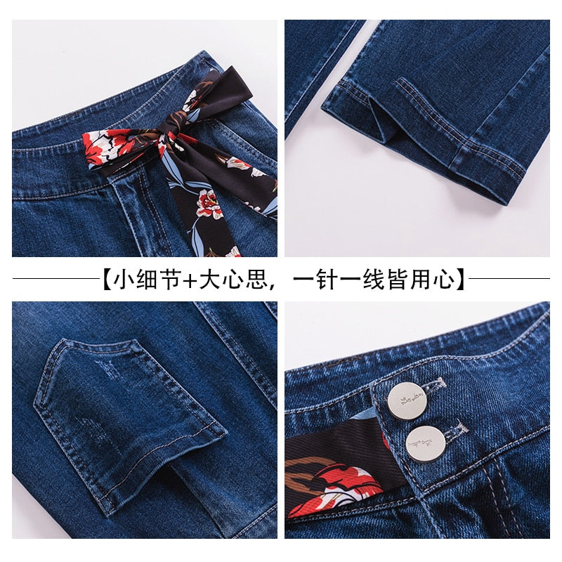 Women Denim High Waist Jeans Wide Leg Pants Vintage Baggy Pants Casual Loose Full Length Pants Drawstring Palazzo Retro Trousers
