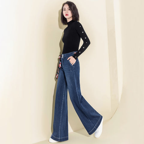 Image of Women Denim High Waist Jeans Wide Leg Pants Vintage Baggy Pants Casual Loose Full Length Pants Drawstring Palazzo Retro Trousers