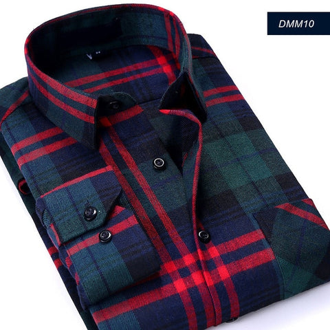 Image of Casual Men Plaid Shirt Spring Autumn Flannel Shirt Men Dress Shirts Fashion Long Sleeve Slim Fit Chemise Homme Cotton Male Shirt