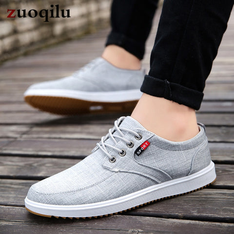 Image of Men Casual Shoes 2019 Summer Canvas Shoes Men Breathable Casual Canvas Men Shoes Walking Men Shoes Chaussure Homme Factory sales
