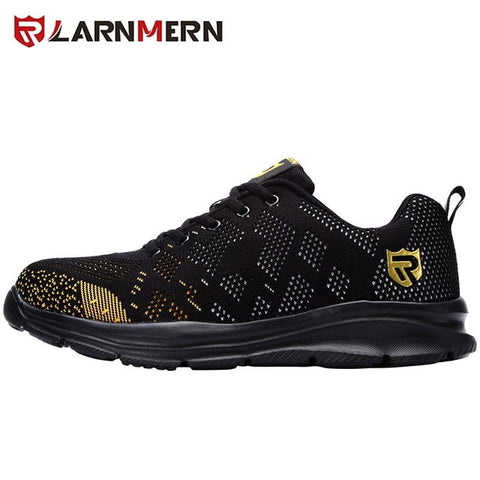 Image of LARNMERN Lightweight Breathable Men Safety Shoes Steel Toe Work Shoes For Men Anti-smashing Construction Sneaker With Reflective
