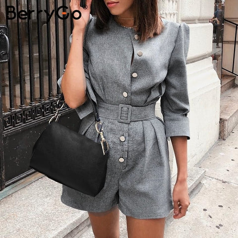 Image of BerryGo Button blazer winter jumpsuit women overalls Office ladies jumpsuits rompers Female short one piece autumn work playsuit