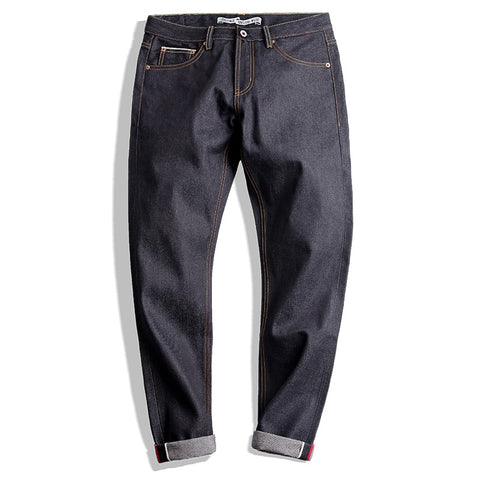Image of MADEN Men's Slim Tapered Fit Raw Selvedge Denim Jeans Dark Blue