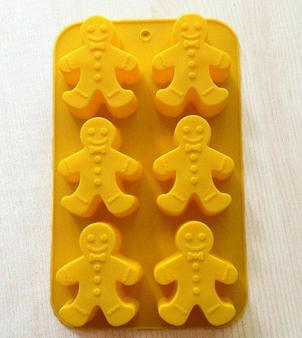 Gingerbread man Silicone tray Mould 6 cavity Biscuit Cake Soap Candle Baking UK