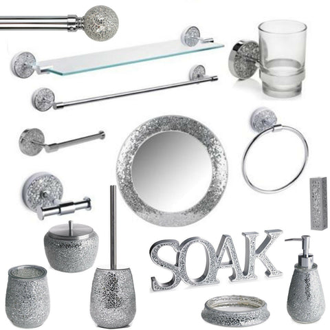 Silver Mosaic Bathroom Accessories Set. Silver Sparkle Mirror Accessory Set