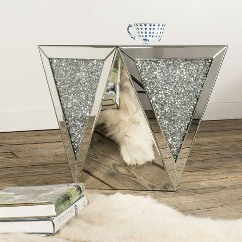 Mirrored Furniture Venetian Crushed Diamond Occasional Table Side End Table