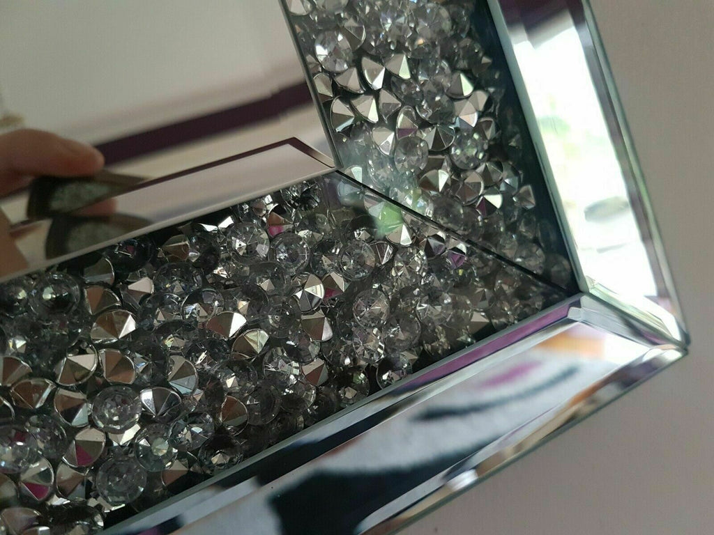 Extra large diamond crushed gems mirror 90cmx65cm lounge jewelled bedroom bling