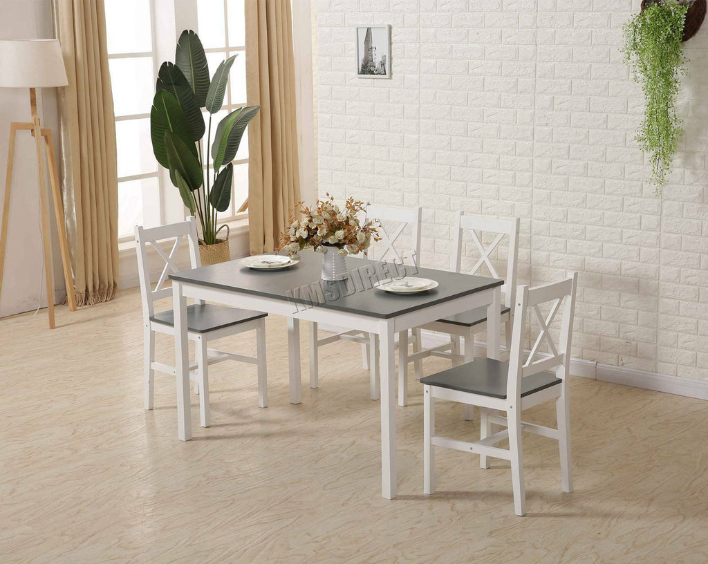 Solid Wooden Dining Table and 4 Chairs Set