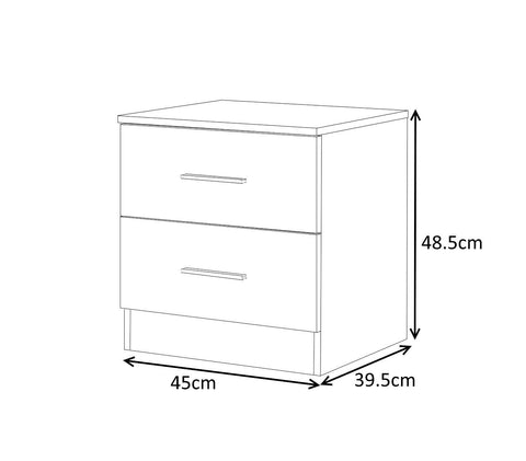 Reflect 3 Piece Set 1 Door Wardrobe Chest of Drawer Bedside Table Gloss White