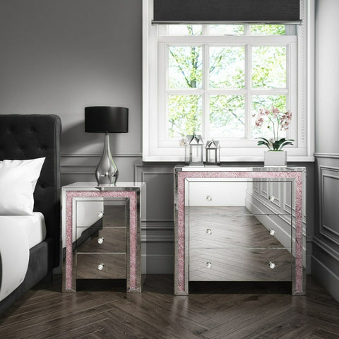 Mariah Crush Diamond Mirrored Bedside Table in Pink MAH004