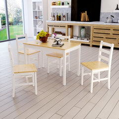 Modern Solid Wood Dining Table and 4 Chairs Set