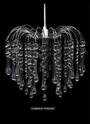 MODERN CEILING CHANDELIER PENDANT LIGHT LAMP SHADE ACRYLIC CRYSTAL DROP LIGHTING