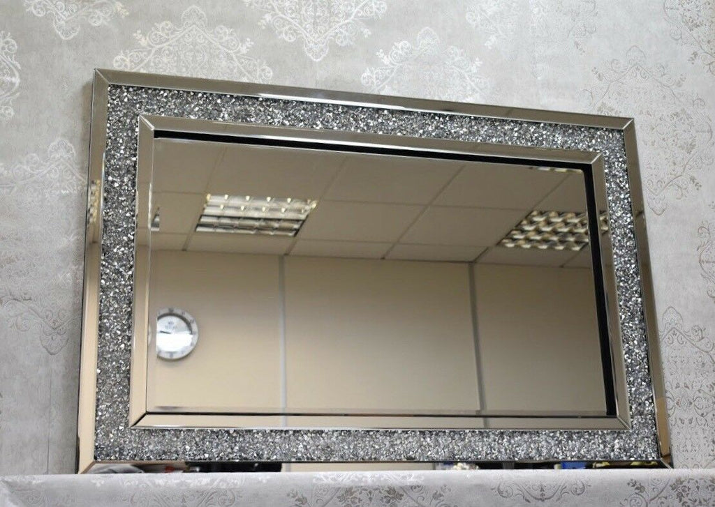 Diamond Crush Glass Sparkly Crystals Silver Wall Mirror 120x80cm Home decor Gift