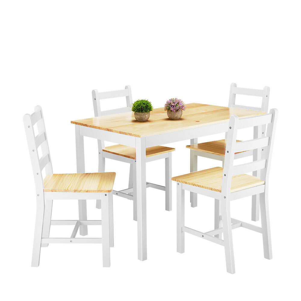 Modern Solid Wood Dining Table and 4 Chairs Set Kitchen Dining Room Furniture