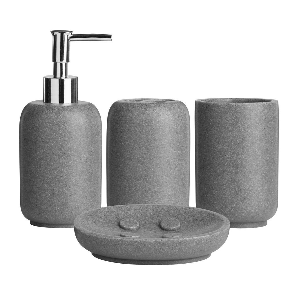 4 Piece Bathroom Accessory Set Toothbrush Holder Tumbler Soap Dish Dispenser