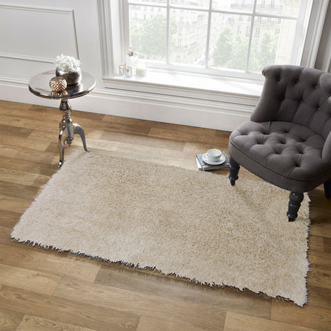 Sienna Large Shaggy Floor Rug Plain Soft Sparkle Area Mat 5cm Thick Pile Glitter