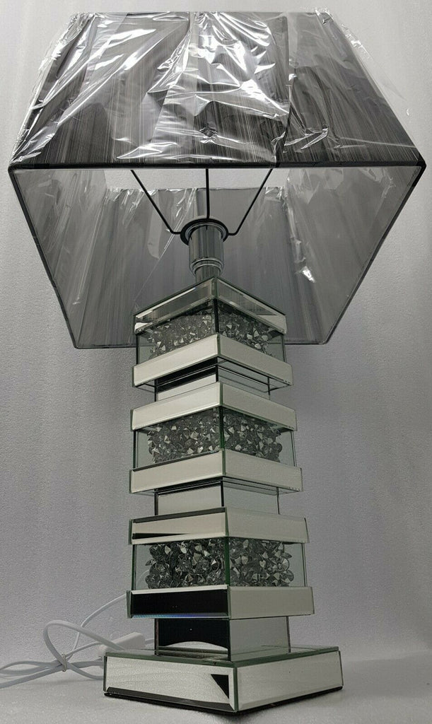 Large Table Lamp Mirrored Sparkly Silver Diamond Crush Square Black White Shade